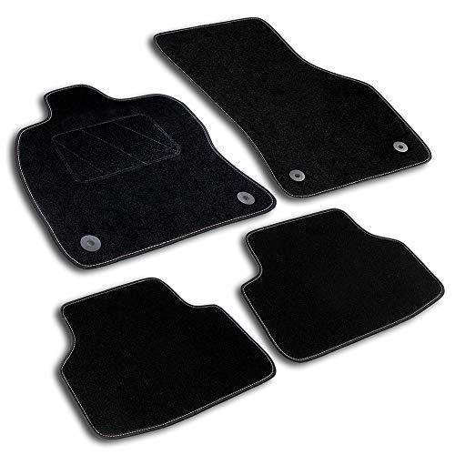 Bär-AfC FO05439 Classic Auto Fußmatten Nadelvlies Schwarz, Rand Kettelung Schwarz, Textiler Trittschutz, Set 4-teilig, Passgenau für Modell Siehe Details