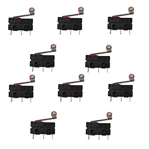 MoviIideas - 10 Unidades Micro Pulsador Final de carrera Con Palanca y Rueda 3 Pines Micro Interruptor (Rueda)
