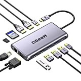 Docking Station USB C, QGeeM 12 en 1 Triple Display Hub, USB C Hub con 4K Dual HDMI, 1080P VGA,100W PD, Ethernet,USB C to USB 3.0,Lector de Tarjetas,Datos USB-C compatibles con MacBook,USB C Dock