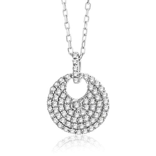 Orovi Collana - Pendente - Ciondolo Donna Pavè di Diamanti con Catena in Oro Bianco con Diamanti Taglio Brillante Ct 0.20 Oro 9 Kt / 375 Catenina Cm 45