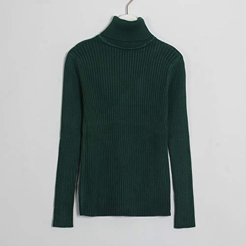 QMGLBG Suéteres suéteres de Cuello Alto suéter de Manga Larga para Mujeres de Punto Delgado básico Casual Ropa de Mujer Otoño Invierno