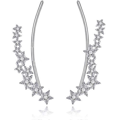 Galbla - Pendientes de plata de ley 925 asimétricos con siete estrellas y circonitas cúbicas para mujeres y niñas