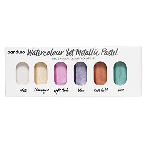 Panduro Aquarellfarbe Pastell Metallic, 6er Set schimmernde Wasserfarben Palette zum Malen, Kalligrafie, Brush Lettering, für Kinder, Erwachsene