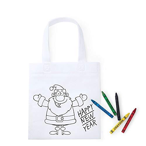 Lote 50 Bolsas para Colorear, diseño Papá Noel, con 5 Ceras Cada Bolsa. Regalos Baratos Infantiles, Bolsa merienda Regalos navideños guarderías, colegios