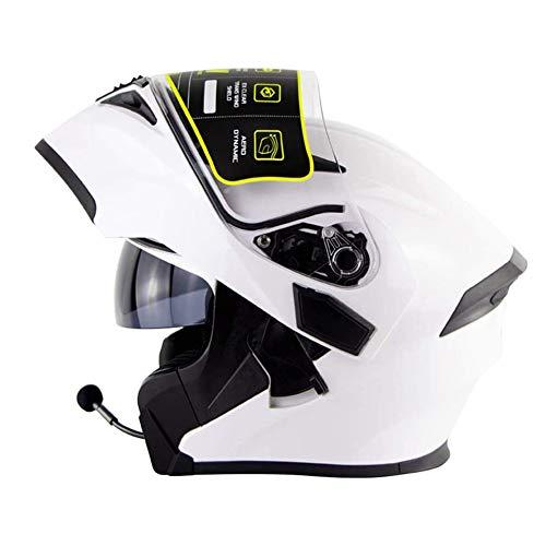 Aozu Casco de Moto con Bluetooth abatible en la Parte Delantera antichoque Cascos modulares Integrados Cara Completa Casco de Motocicleta de Carreras Doble Espejo MP3 HD Llamada(2,M(57~58cm))