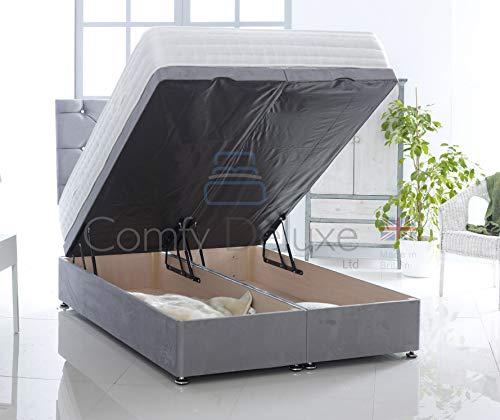 Suede Fabric Ottoman Foot Lift Bed Base and Memory Orthopaedic Mattress by Comfy Deluxe LTD (Silver, 4FT Small Double)