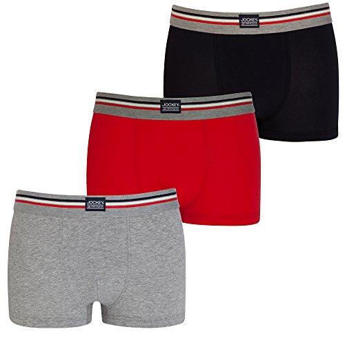 JOCKEY 3er Pack enger Herren BOXER SHORTS L Farbe 982 Grau Rot Marine Trunks Pants