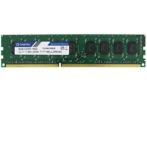 Timetec Hynix IC 16GB Kit(2x8GB) DDR3L 1600MHz PC3-12800 Unbuffered ECC 1.35V CL11 2Rx8 Dual Rank 240 Pin UDIMM Server Memory Ram Module Upgrade (16GB Kit(2x8GB))