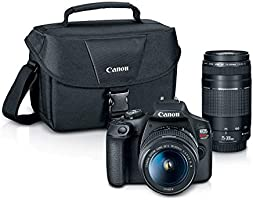 Canon EOS REBEL T7 DSLR Camera 2 Lens Kit with EF18-55mm + EF 75-300mm Lens, Black