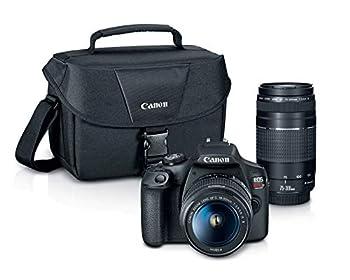 Canon EOS REBEL T7 DSLR Camera|2 Lens Kit with EF18-55mm + EF 75-300mm Lens Black