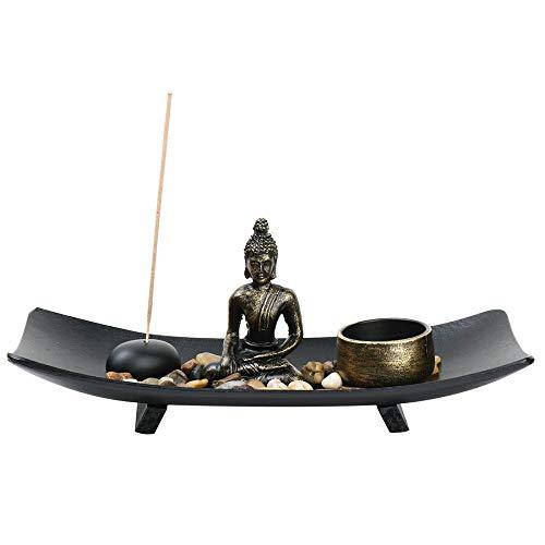 Mini Zen Garden Buddha Statue Incense Sticks Burner Holder with Glass Tealight Candle (Normal-27x11x8.5cm)
