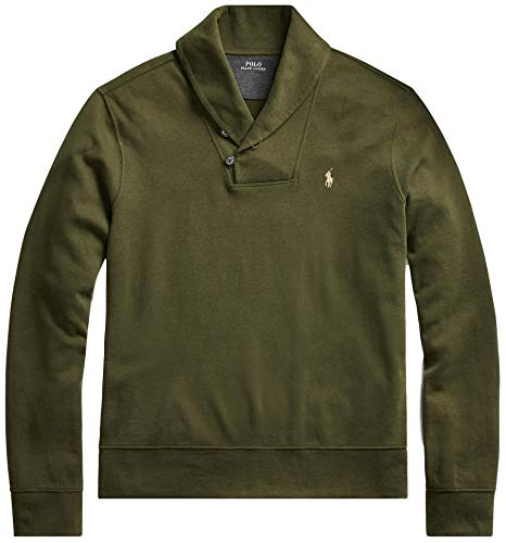 Polo Ralph Lauren Mens French Rib Shawl Neck Sweater (Large, EstateOlive)