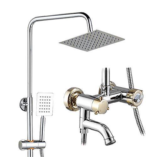 CENPEN Grifo de ducha de montaje en pared, dual, sistema de ducha de alta presión con cabezal de ducha de lluvia, ducha de mano y grifo de boquilla de tina