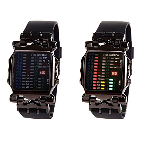 MINILUJIA Men Cool Digital Watch Binary Time LED Display Waterproof with Rubber Band Unique Creative Fashion Sport Wristwatches One PCS