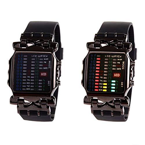 MINILUJIA Reloj digital para hombre con pantalla LED de hora binaria, impermeable, con banda de goma, único, creativo, moderno, deportivo, una pieza