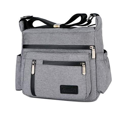 Wxnow Purses and Shoulder Handbags for Women Casual Travel Bag Messenger Cross Body Crossbody Bag Oxford Nylon Bags Purses Light Grey