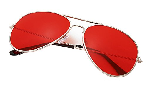4sold Kinder mit Edelstahl Metall Gestell Sonnenbrille (Rot Transparent)