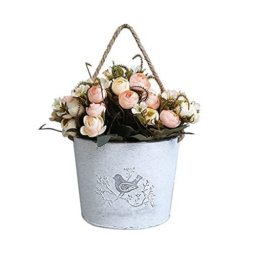 Macetas colgantes y cestas de pared de granja maceta de bolsillo media redonda de hierro decoración de pared soportes de flores colgantes macetas colgantes de pared macetas colgantes para plantas