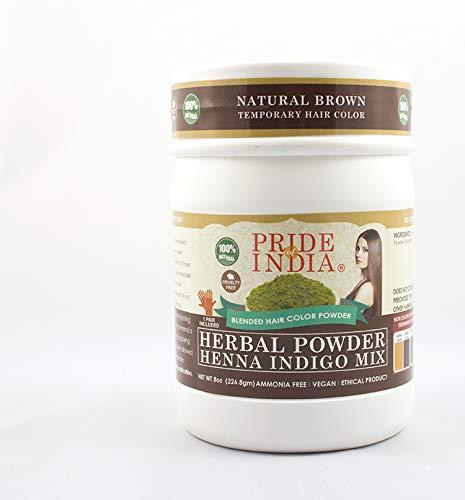 Pride Of India Kräuter Henna & Indigo Mischung Haarfarbe Pulver w / Handschuhe
