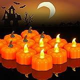 AUXSOUL Juego de 24 velas LED parpadeantes para Halloween, funciona con pilas, color naranja calabaza sin llama, velas eléctricas, luz blanca cálida, para Halloween o fiestas