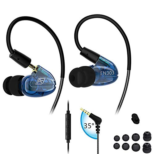 LAFITEAR Wired Sport Over-Ear Earphones, Earhook Earbuds w/Noise Isolating Volume Control Mic for Running, Workout, Gym, Blue