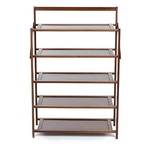 BESTSOON Zapatero organizador de 5 capas zapatero plegable de madera, montaje rápido, no requiere herramientas (tamaño único; color: café)