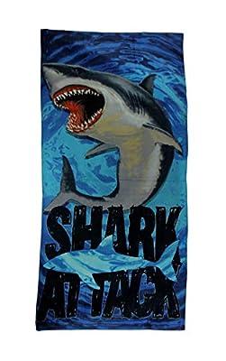 Island Gear Great White Shark Attack 30x60 Cotton Velour Bath Beach Towel