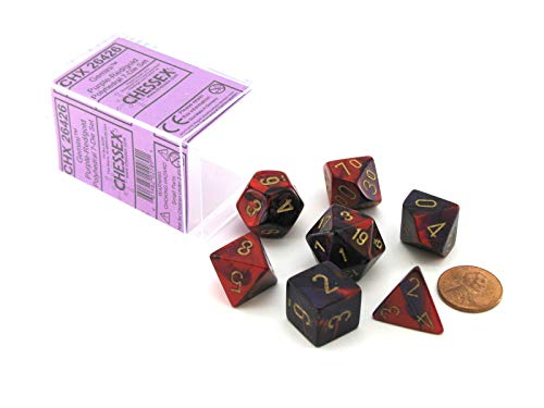 Chessex Polyhedral 7-Die Gemini Dice Set - Purple-Red with Gold CHX-26426