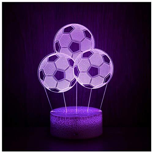 Luz nocturna para niños Lámpara 3D Ilusión Luz Nocturna LED con Cable USB y 7 funciones de cambio de color regalo de Navidad jóvenes, adultos, niñas Tres balones de fútbol-Touch