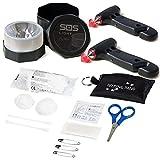 SOS LIGHT PK2688 Pack 2 MARTILLOS, portátil de Emergencia, para Coche: rompeventanas y Cortador de cinturón de Seguridad, Regalo, Funda Llavero con Primeros Auxilios