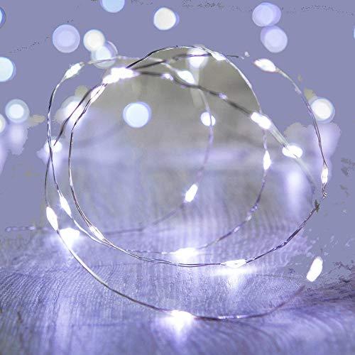 2 x Submersible Waterproof 20 LED String Lights. Vine Lights for Floral Vase Wedding Event Occasion (White)