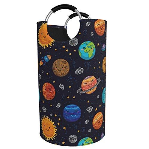 Suzanne Betty Cesto para la colada extragrande de 82 l con sistema solar para niños, plegable, con asas de aluminio, cesta grande para la ropa de niños, cesta de almacenamiento redonda para dormitorio
