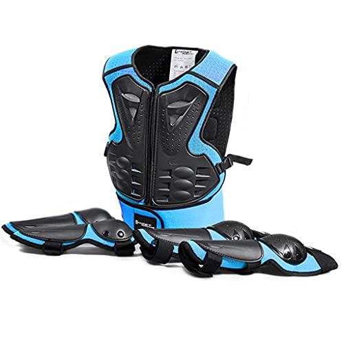 DXMGZ Conjunto de Protección Protectores Multifuncionales para Niños, Rodilleras/Coderas/Chaleco Protector Conjunto de 5 Piezas, para Snowboard/Motocross/Skateboard/Deportes de Ciclismo Blue