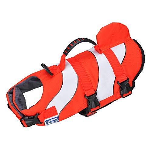 Songway, giubbotto di salvataggio per cani, protezione da bagno, con strisce riflettenti, regolabile, giubbotti di salvataggio per piscina, spiaggia, canottaggio (pesce pagliaccio, S)
