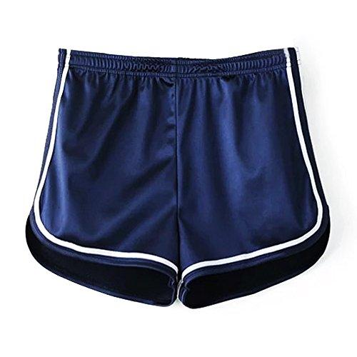 Mangotree Damen Sport Shorts Glänzende metallische Hosen Yoga Hot Shorts Aktive Lounge Shorts Tanz Shorts mit farbigen Kanten (S, Blau)