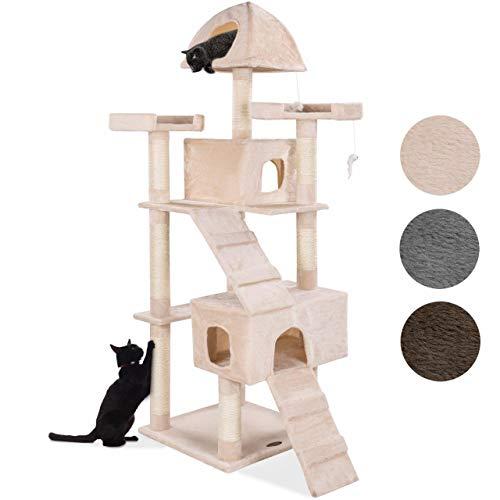 Happypet® Kratzbaum für Katzen groß 181 cm hoch, CAT002-4, Kletterbaum Katzenbaum für mehrere Katzen geeignet, Dicke Sisalstämme ca. 8 cm, Haus, Lauframpen, Aussichtsplattformen, Spielmaus, BEIGE