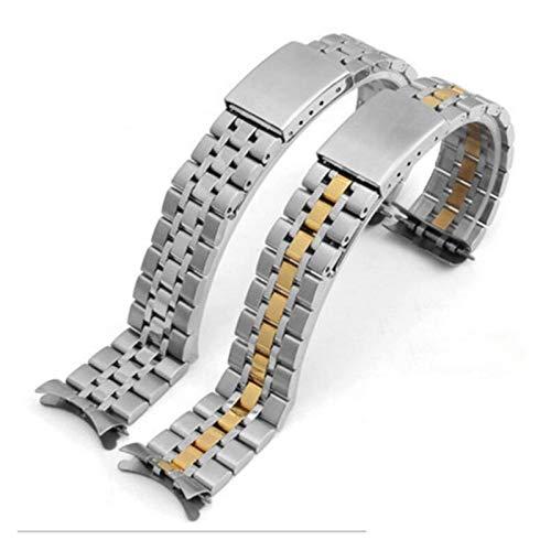 YWSZY Acero Inoxidable 316L Pulsera de la Correa de la Correa de Repuesto de los Hombres de la Correa de Extremo doblado 19 mm Plata Oro Correa de Reloj (Band Color : Silver, Band Width : 19mm)