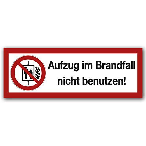 10 Stück Aufzug im Brandfall Nicht benutzen Aufkleber Sticker Warnhinweis, Verbotszeichen, Warnzeichen, Sicherheitszeichen