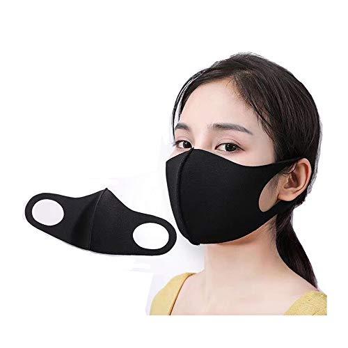 BaiHu Staubmundschutz, wiederverwendbare Baumwolle, atmungsaktiv, Unisex, Gesichtsbedeckung Erwachsene Schwarz