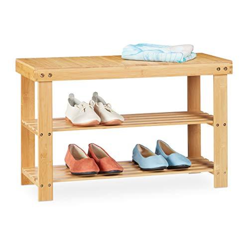 Relaxdays Zapatero de bambú, con Asiento y 2 estantes, 45 x 70 x 28 cm, Color Natural, Naturaleza, 1 Unidad