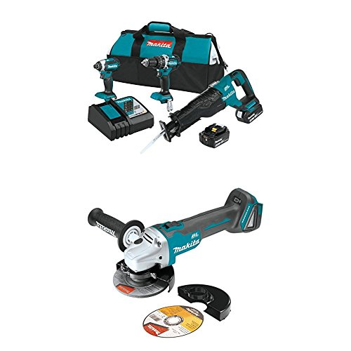 """Makita XT328M 4.0 Ah 18V LXT Lithium-Ion Brushless Cordless Combo Kit, 3 Piece with XAG04Z 18V LXT Lithium-Ion Brushless Cordless 4-1/2"""" / 5' Cut-Off/Angle Grinder"""