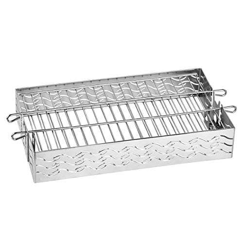 Skyflame Stainless Steel Flat Spit Rotisserie Grill Basket Fits for 5/16 Inch Square, 3/8 Inch Square, 1/2 Inch Hexagon Spit Rods