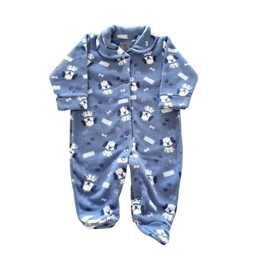 Macacão Estampado de Soft Quentinho, Fofo e Confortável (Azul Cachorro, P)