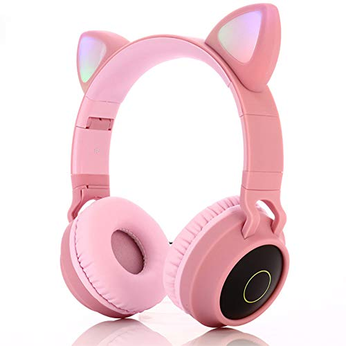 Pink Over Ear Gaming Headset with Mic for PS4, iPhone, PC, Removeable Cat Ear Headphone for Girls Women(Pink)