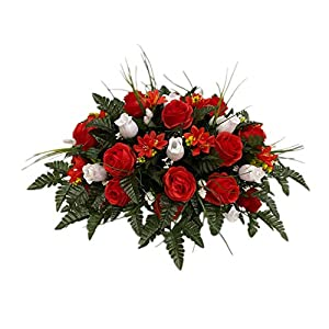 Red, Pink, White Roses Cemetery Flower Arrangement, Headstone Saddle, Grave, Tombstone Arrangement, Cemetery Flowers SV4024