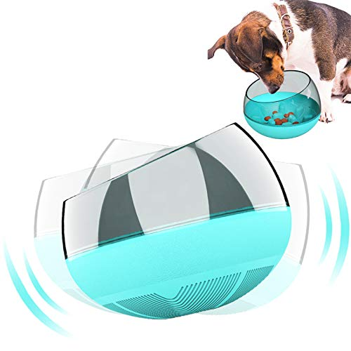 N / A Slow Feeder Dog Bowls, Food Bowl No Spill Tumbler Roly Poly Maze Puzzle for Puppies Cat Large Small Fast Eaters (blue)