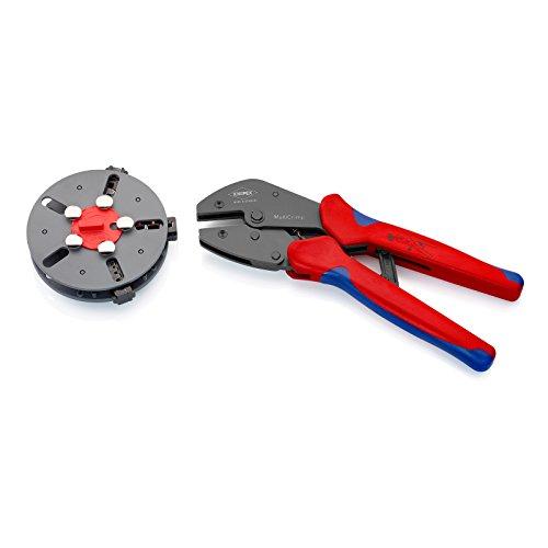 KNIPEX 97 33 01 MultiCrimp® Crimpzange mit Wechselmagazin und 3 Crimpeinsätzen brüniert mit Mehrkomponenten-Hüllen 250 mm