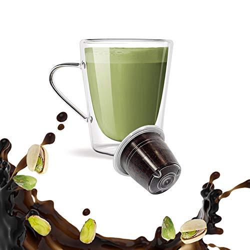 KICKKICK Pistacchio Capsule Compatibili Nespresso (10PZ) Made in Italy Cialde di caffè Aromatizzato Solubile al Gusto di Pistacchio per Macchina da caffè Nespresso