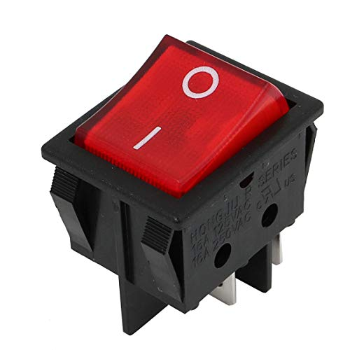 sourcing map AC 250V/125V 15A/20A Rojo DPST ON-OFF 4Pin Impermeable Eje Balanceo Barco Conmutador