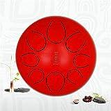 Tambor de Acero Inoxidable 8 Pulgadas Lengua Lengua de 8 Notas Handpan percusión Mazos for Transportar el Instrumento Palos Bolsa for la meditación de Sonido Yoga (Color: Rojo, Tamaño